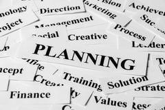 Planificación y otras palabras relacionadas Foto de archivo libre de regalías