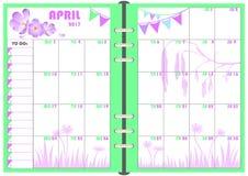 Planificador abril de 2017 diario Fotos de archivo