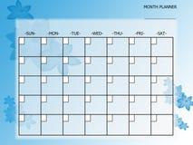 Planificador azul del mes de la flor stock de ilustración