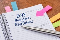 Planificador con las resoluciones 2018 de los Años Nuevos de la entrada Imagen de archivo
