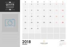 Planificador 2018 de enero en el fondo blanco para la organización y los BU Fotografía de archivo