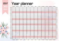 Planificador de la pared del año Plan hacia fuera su entero con este 2017 Plantilla anual del calendario Diseño del vector Fotografía de archivo libre de regalías