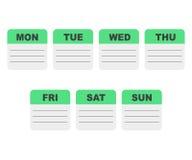 Planificador de la semana de calendario Imágenes de archivo libres de regalías