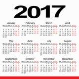 Planificador 2017 del calendario Foto de archivo libre de regalías