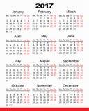 Planificador 2017 del calendario imagen de archivo libre de regalías