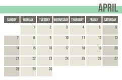 Planificador 2019 del calendario Planificador mensual abril ilustración del vector