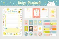 Planificador diario del calendario lindo stock de ilustración
