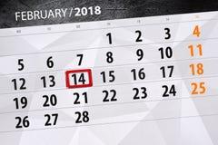Planificador diario el 2018 de febrero, 14 del calendario del negocio del mes del fondo Foto de archivo