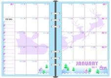 Planificador enero de 2017 diario Imagen de archivo