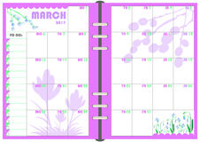 Planificador marzo de 2017 diario Fotografía de archivo