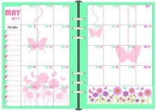 Planificador mayo de 2017 diario Fotografía de archivo libre de regalías