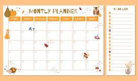 Planificador mensual lindo con los elementos dibujados mano del otoño libre illustration