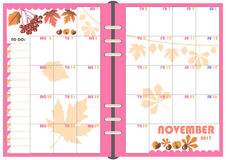 Planificador noviembre de 2017 diario Imagenes de archivo