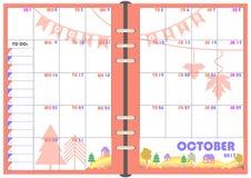 Planificador octubre de 2017 diario Imágenes de archivo libres de regalías