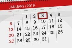 Planificador para mes enero de 2019, día del plazo, 3, jueves del calendario ilustración del vector