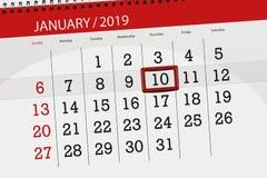 Planificador para mes enero de 2019, día del plazo, 10, jueves del calendario imagen de archivo libre de regalías