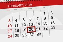 Planificador para mes febrero de 2019, día del calendario del plazo, miércoles 20 fotografía de archivo