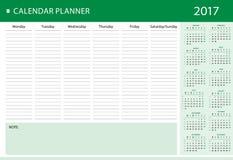 Planificador personal semanal del calendario para 2017 Imágenes de archivo libres de regalías