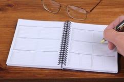 Planificador semanal Fotografía de archivo libre de regalías