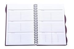 Planificador semanal aislado Imagen de archivo libre de regalías