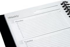 Planificador semanal aislado Fotografía de archivo libre de regalías