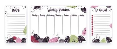 Planificador semanal con días laborables, página para las notas y hacer las plantillas de la lista adornadas con los movimientos  ilustración del vector