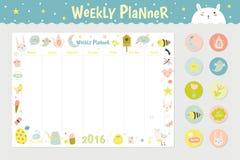 Planificador semanal del calendario lindo libre illustration
