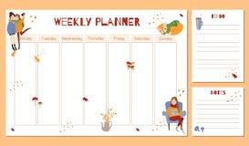 Planificador semanal lindo con los elementos dibujados mano del otoño stock de ilustración