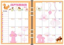 Planificador septiembre de 2017 diario Foto de archivo