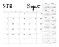 Planificador simple del calendario por 2018 años Fotografía de archivo libre de regalías