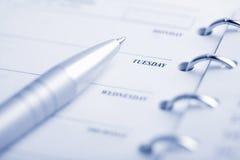 Planificador y pluma Imagen de archivo libre de regalías
