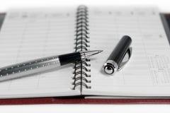 Planificador y pluma del día Fotografía de archivo libre de regalías