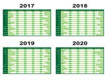 Planificadores verdes 2017 de la pared hacia adelante stock de ilustración