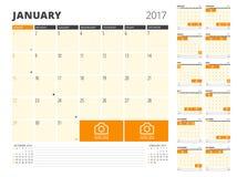 Planificateur de calendrier pendant 2017 années Photos libres de droits