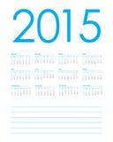 Planificateur de calendrier pour 2015 Photographie stock