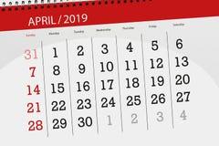 Planificateur de calendrier pour mois en avril 2019, jour de date-butoir illustration de vecteur