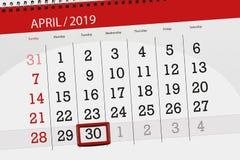Planificateur de calendrier pour mois en avril 2019, jour de date-butoir, mardi 30 image stock