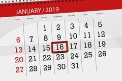Planificateur de calendrier pour mois en janvier 2019, jour de date-butoir, mercredi 16 illustration de vecteur