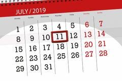 Planificateur de calendrier pour mois en juillet 2019, jour de date-butoir, jeudi 11 image stock
