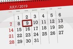 Planificateur de calendrier pour mois en juillet 2019, jour de date-butoir, mardi 9 image stock
