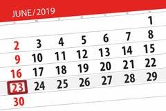 Planificateur de calendrier pour mois en juin 2019, jour de date-butoir, 23, dimanche photo stock