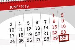 Planificateur de calendrier pour mois en juin 2019, jour de date-butoir, 30, dimanche photographie stock libre de droits