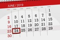Planificateur de calendrier pour mois en juin 2019, jour de date-butoir, 24, lundi photo stock