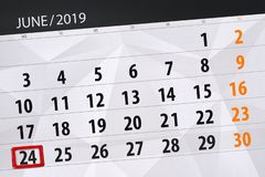 Planificateur de calendrier pour mois en juin 2019, jour de date-butoir, 24, lundi images stock