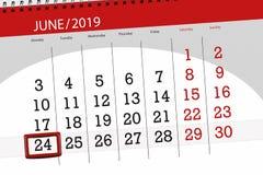 Planificateur de calendrier pour mois en juin 2019, jour de date-butoir, 24, lundi image libre de droits