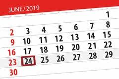 Planificateur de calendrier pour mois en juin 2019, jour de date-butoir, 24, lundi photo libre de droits