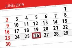 Planificateur de calendrier pour mois en juin 2019, jour de date-butoir, 26, mercredi image libre de droits