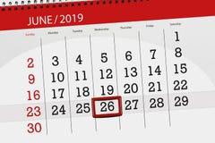 Planificateur de calendrier pour mois en juin 2019, jour de date-butoir, 26, mercredi photos stock