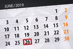Planificateur de calendrier pour mois en juin 2019, jour de date-butoir, 26, mercredi photographie stock libre de droits