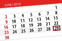 Planificateur de calendrier pour mois en juin 2019, jour de date-butoir, 29, samedi images stock